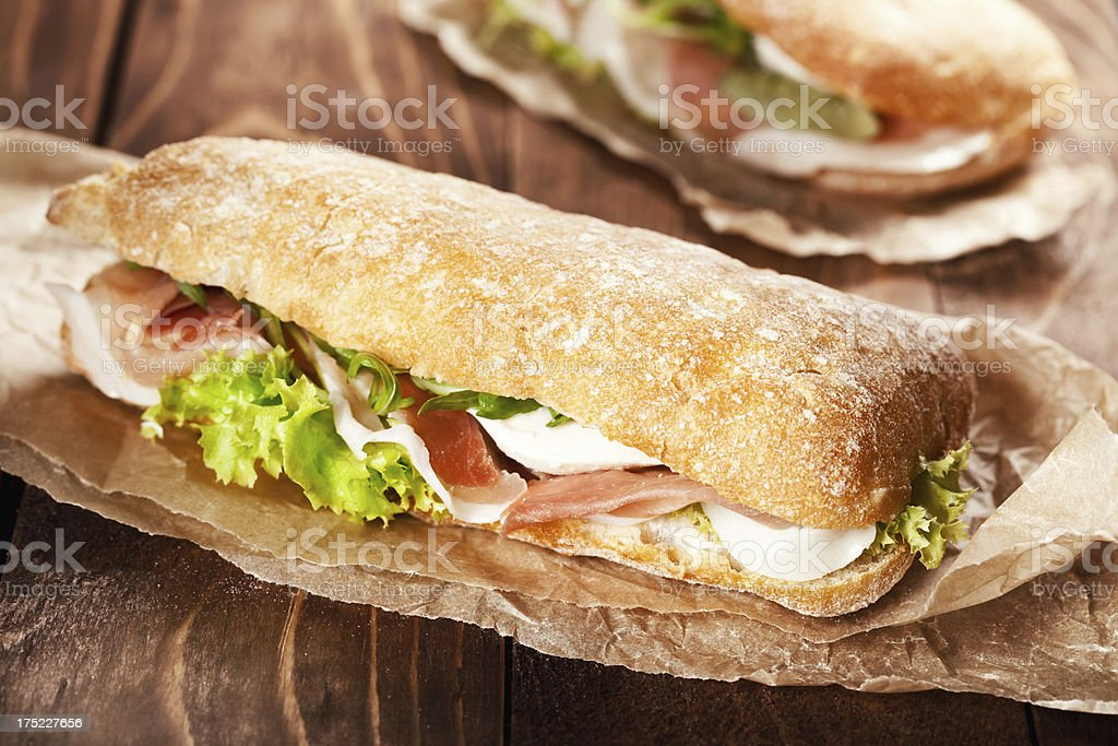 Sandwich with prosciutto royalty-free stock photo