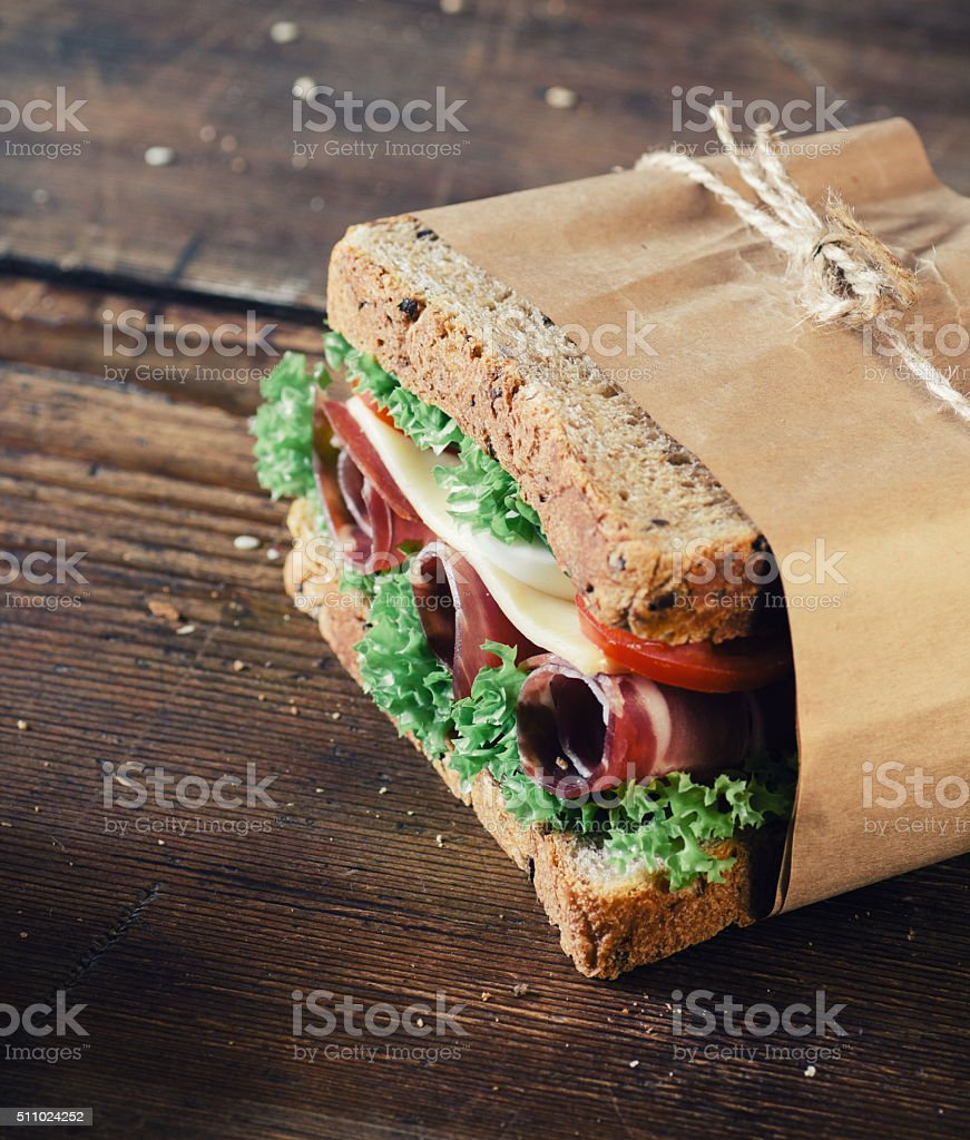 Sandwich with prosciutto stock photo