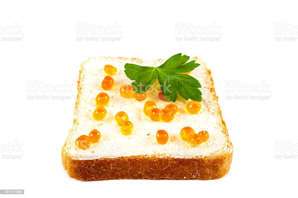 Sandwich with red caviaron white background. stock photo