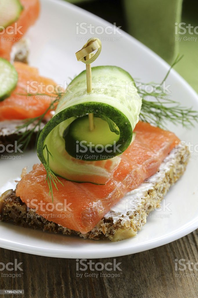Sandwich with red fish (salmon) and dill royalty-free stock photo