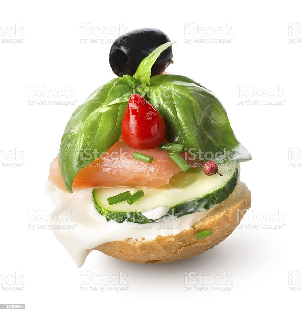 Sandwich with red fish and vegetables royalty-free stock photo