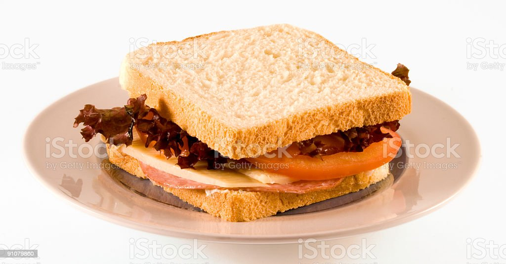 Sandwich with salad and clipping path royalty-free stock photo