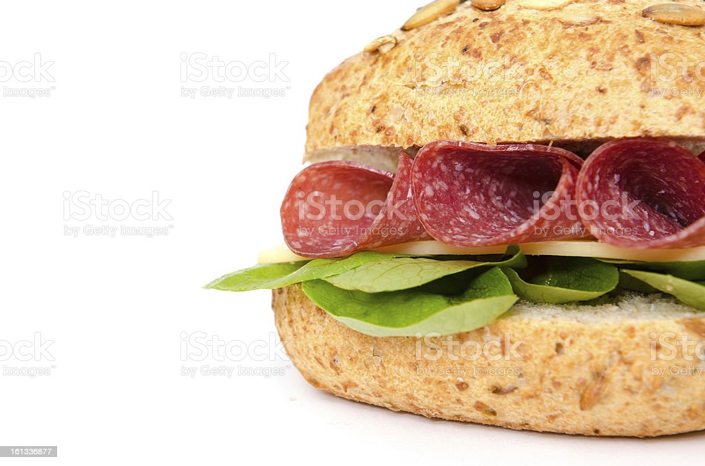 Sandwich with salami and cheese royalty-free stock photo