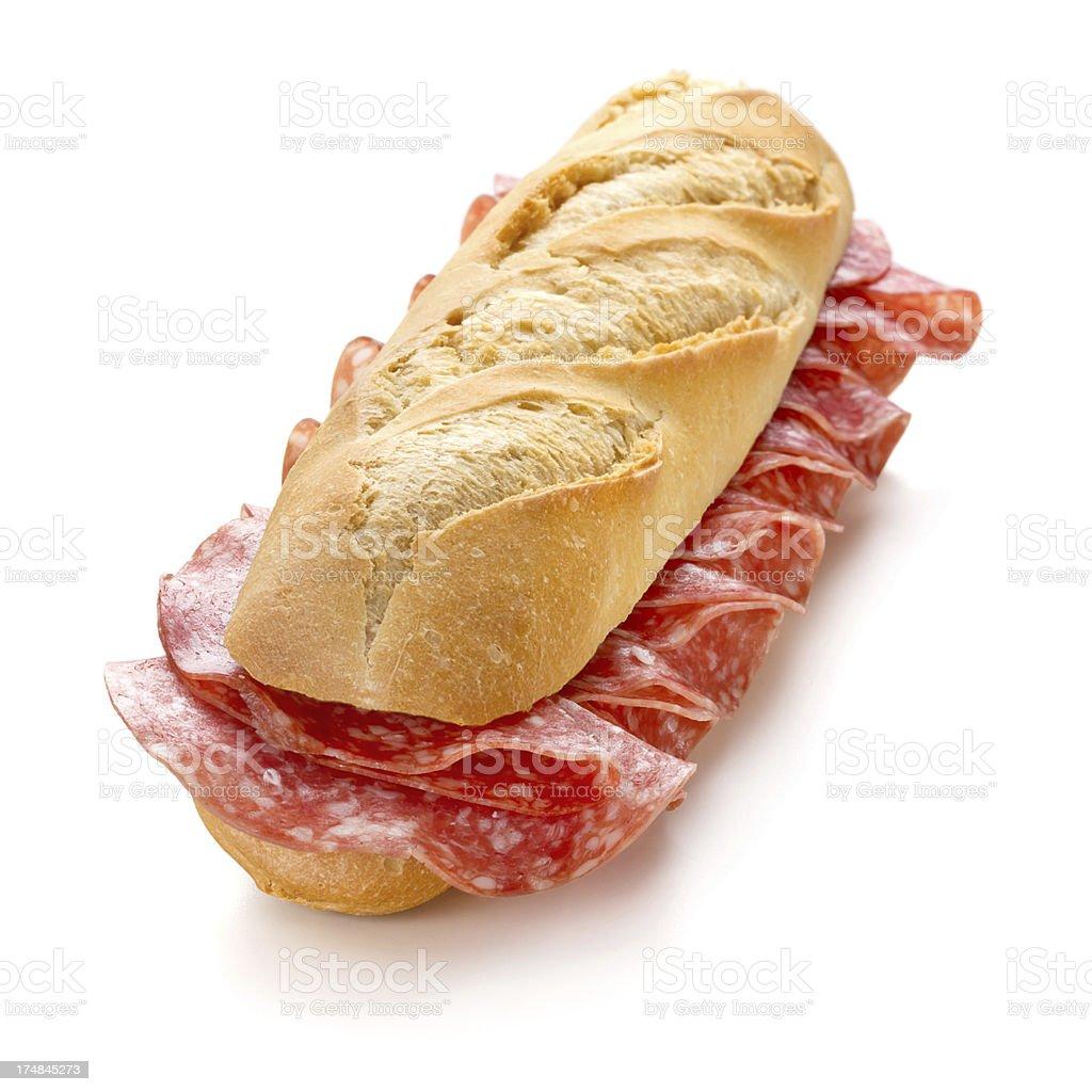 Sandwich with Salami royalty-free stock photo