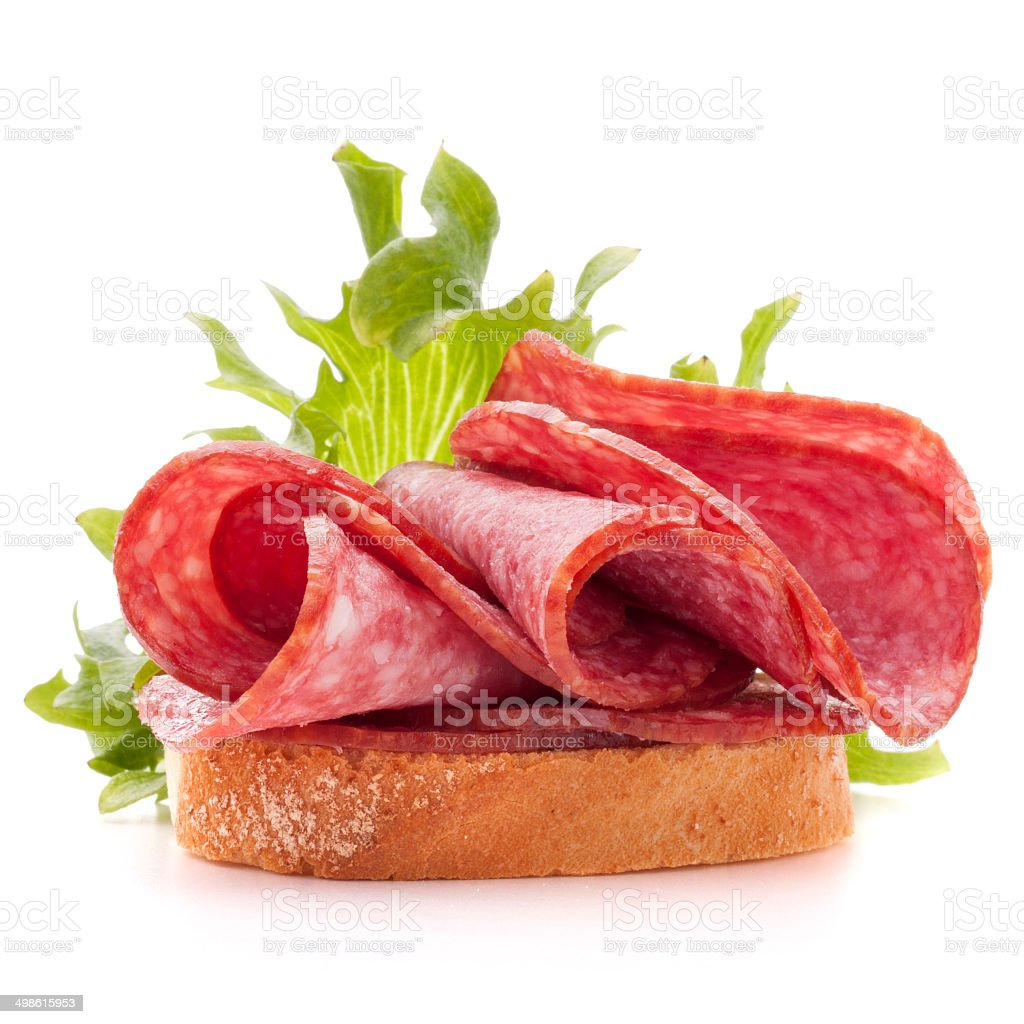 sandwich with salami sausage on white background  cutout stock photo