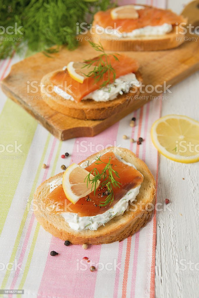 Sandwich with salmon and cream cheese royalty-free stock photo