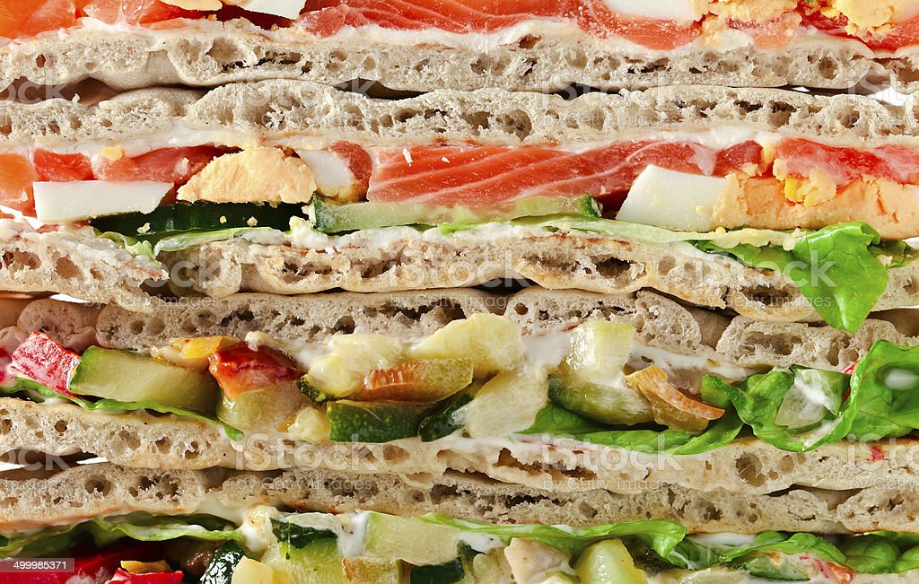 sandwich with salmon and vegetables royalty-free stock photo