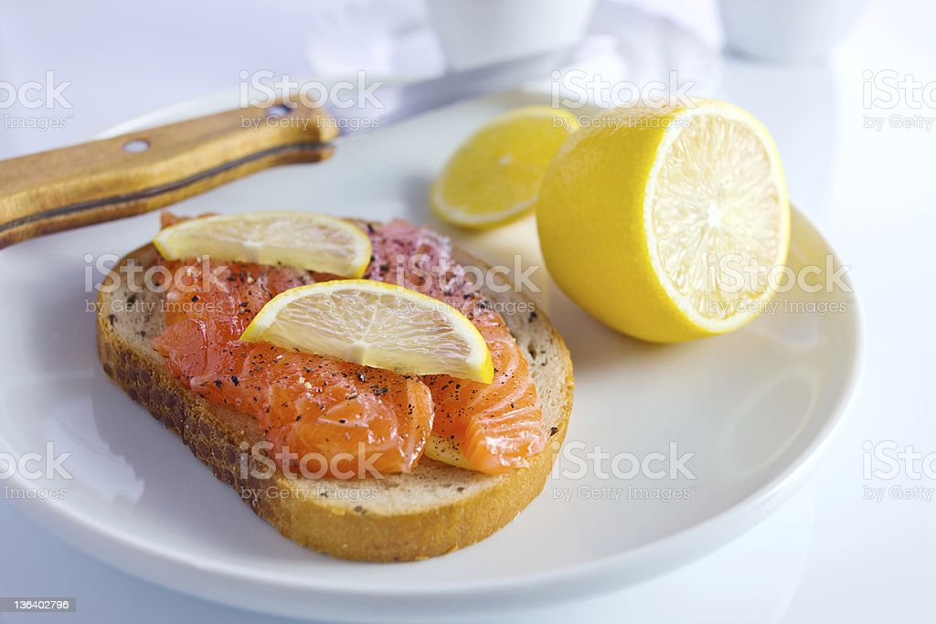 sandwich with salmon. royalty-free stock photo