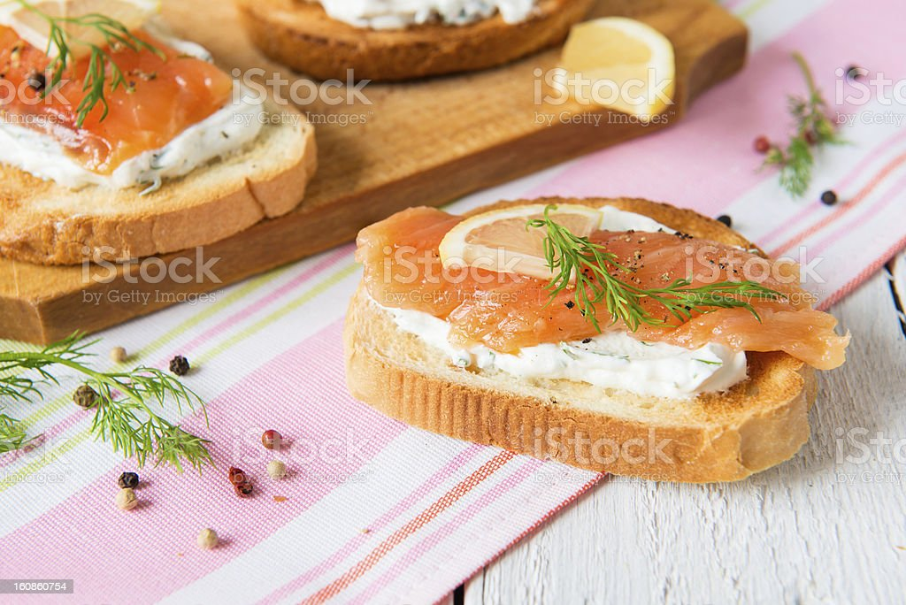 Sandwich with salmon royalty-free stock photo
