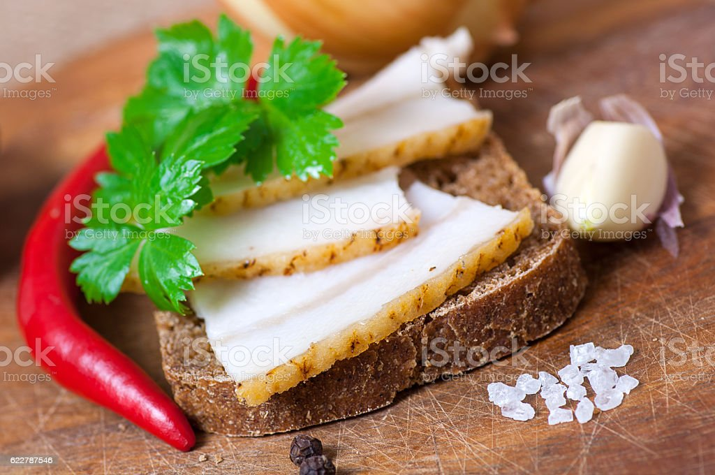Sandwich with salted lard stock photo