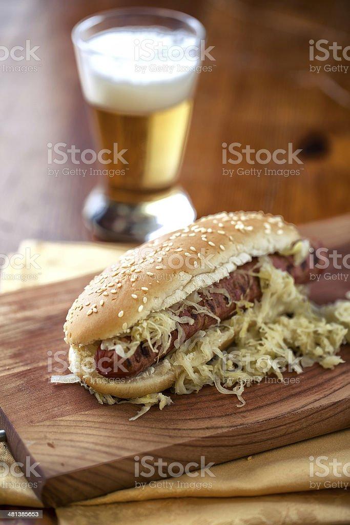 Sandwich with sausage and sauerkraut stock photo