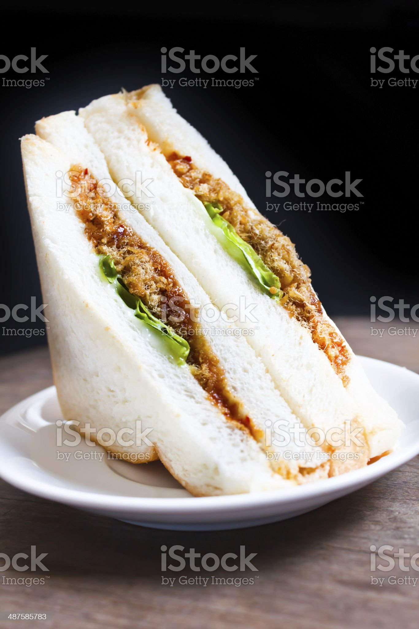 Sandwich with shredded pork and chili paste. royalty-free stock photo