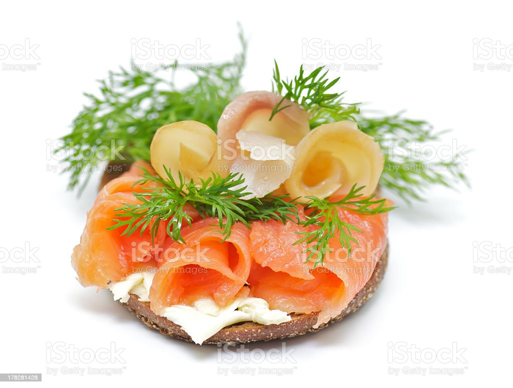 Sandwich with Smoked Salmon and Sturgeon, Cheese Cream, Dill royalty-free stock photo