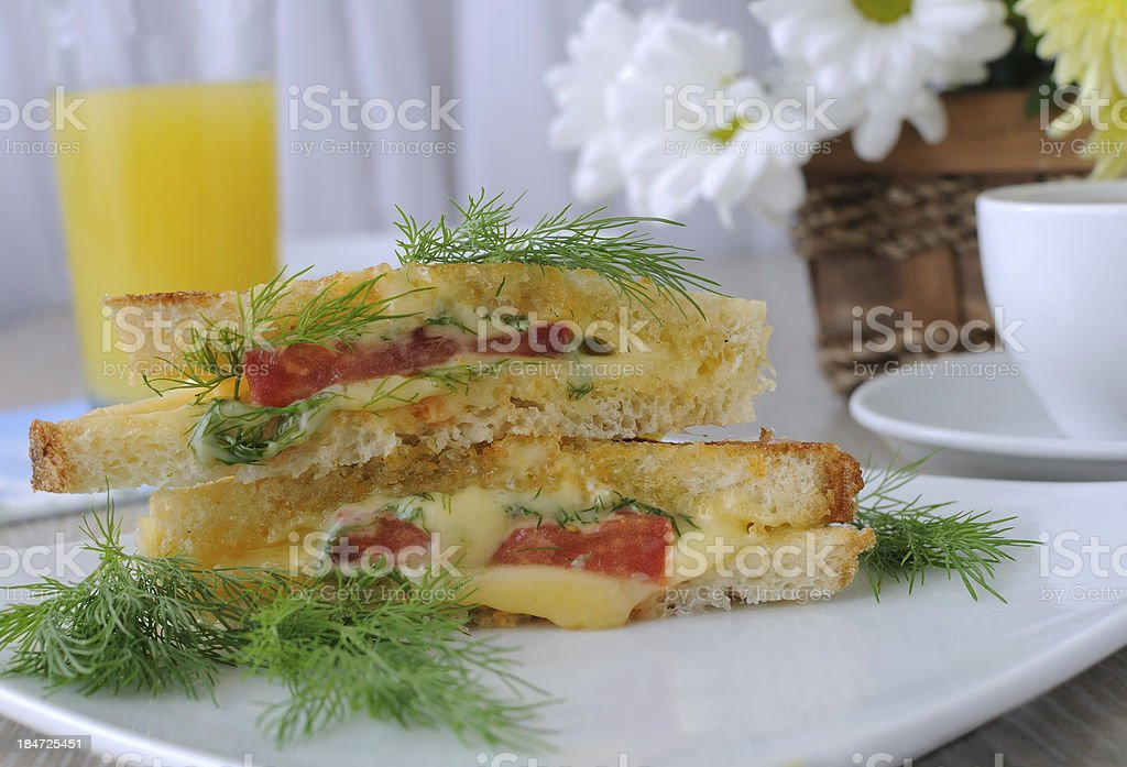 Sandwich with tomato and cheese royalty-free stock photo