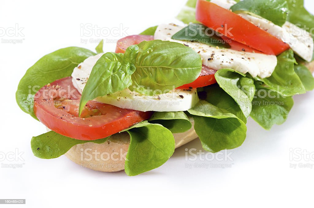 Sandwich with tomato and mozzarella royalty-free stock photo