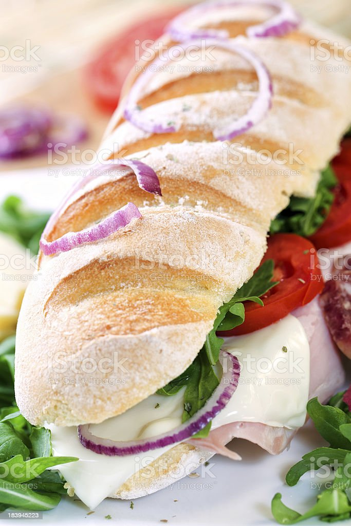 Sandwich with tomato, cheese, and ham royalty-free stock photo