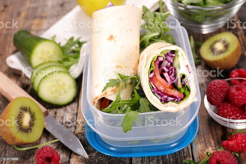 sandwich wrap with vegetables stock photo
