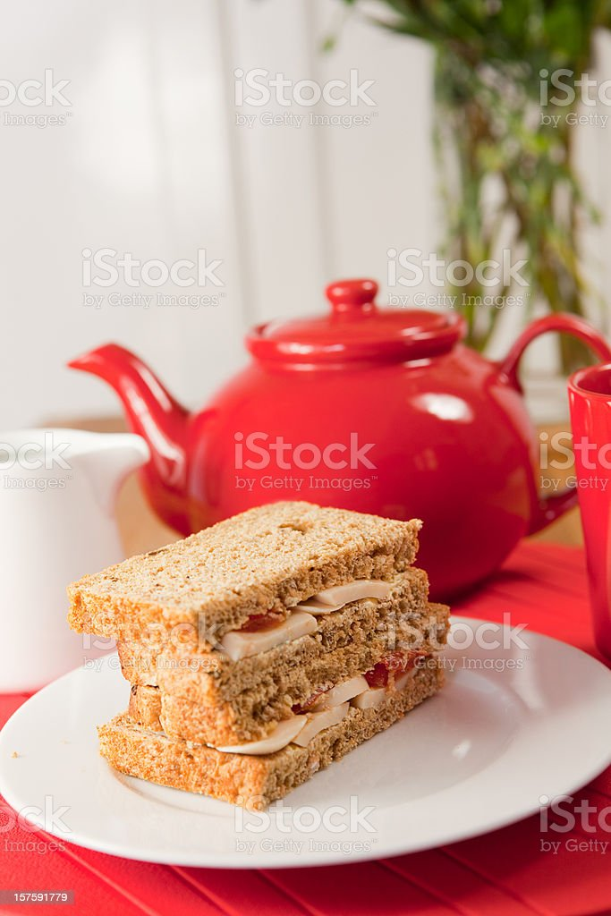 Sandwiches And A Pot Of Tea stock photo