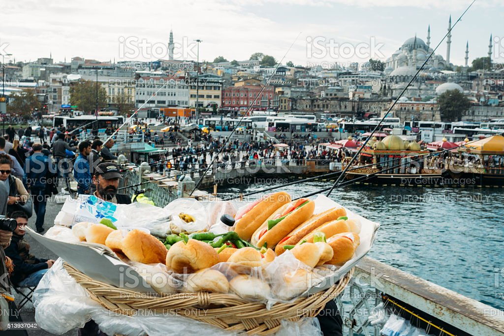 Sandwiches at the Galata bridge, Istanbul stock photo