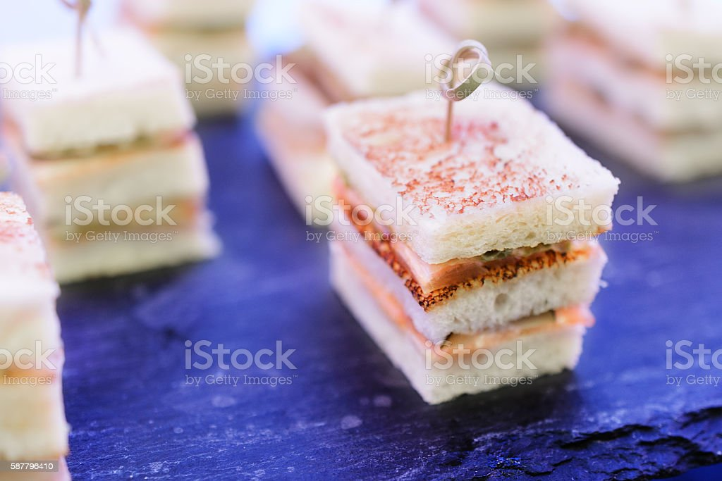 Sandwiches Canapes with fish. stock photo