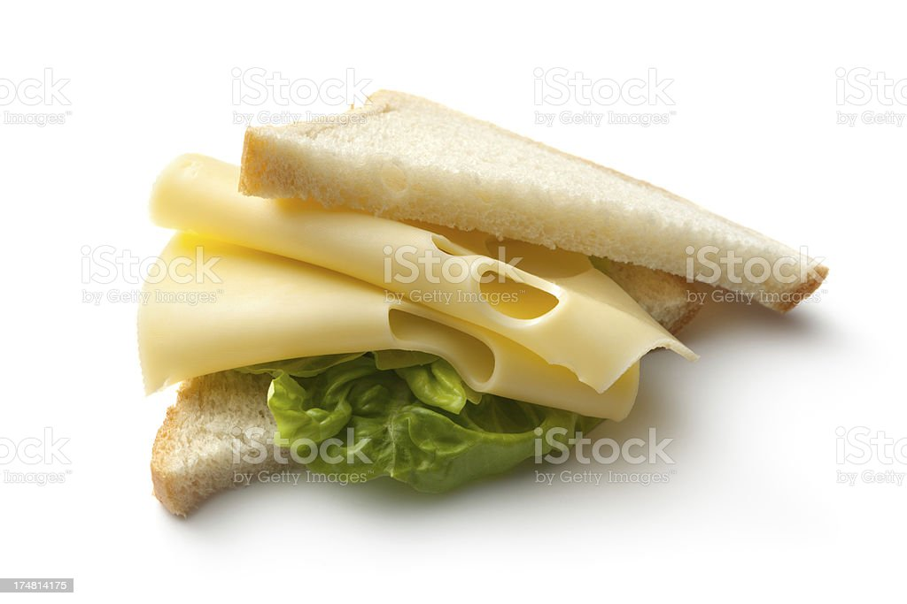 Sandwiches: Cheese Sandwich Isolated on White Background royalty-free stock photo