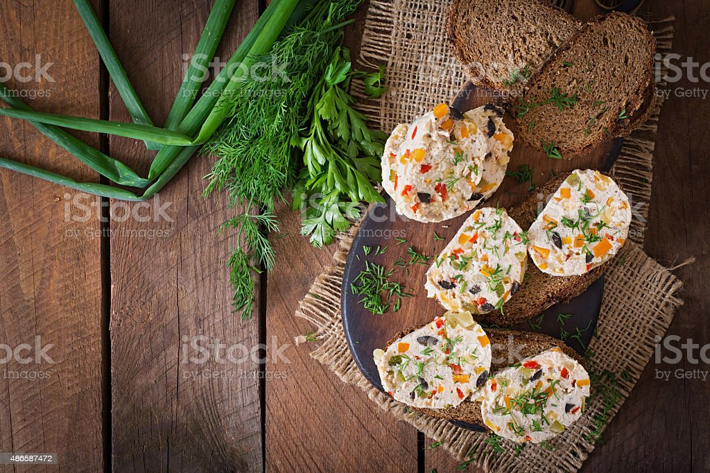 Sandwiches chicken meat loaf with vegetables. stock photo