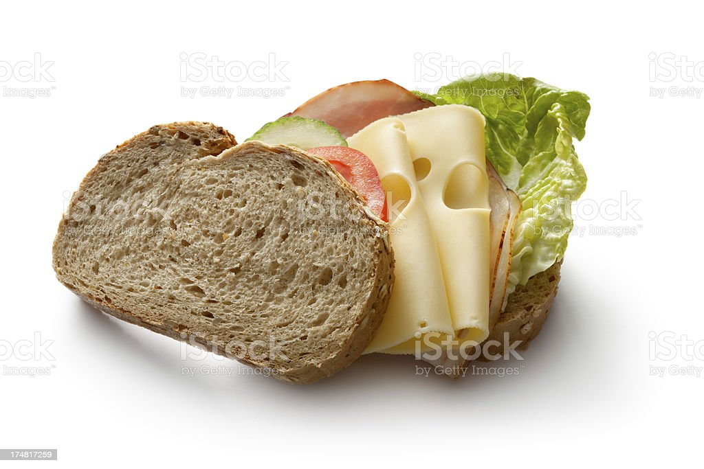 Sandwiches: Ham and Cheese Sandwich Isolated on White Background royalty-free stock photo