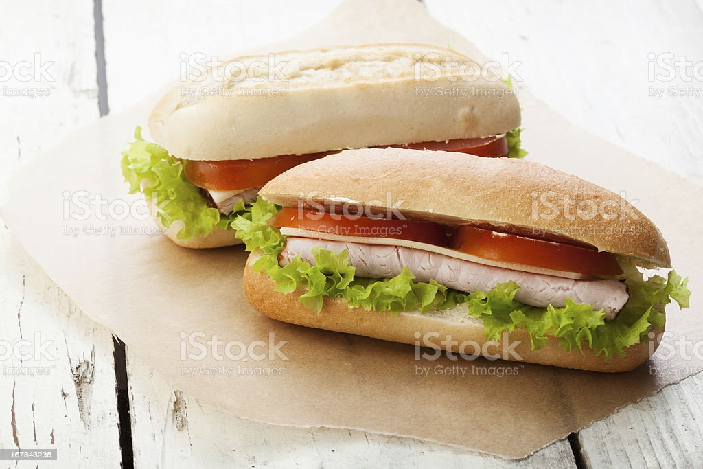 Sandwiches on paper royalty-free stock photo
