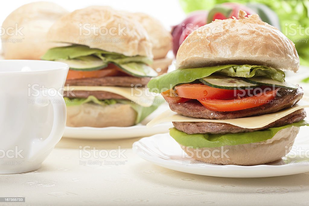 Sandwiches on plate stock photo