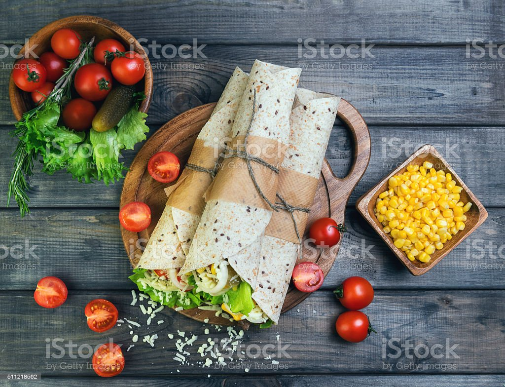 Sandwiches twisted roll Tortilla stock photo