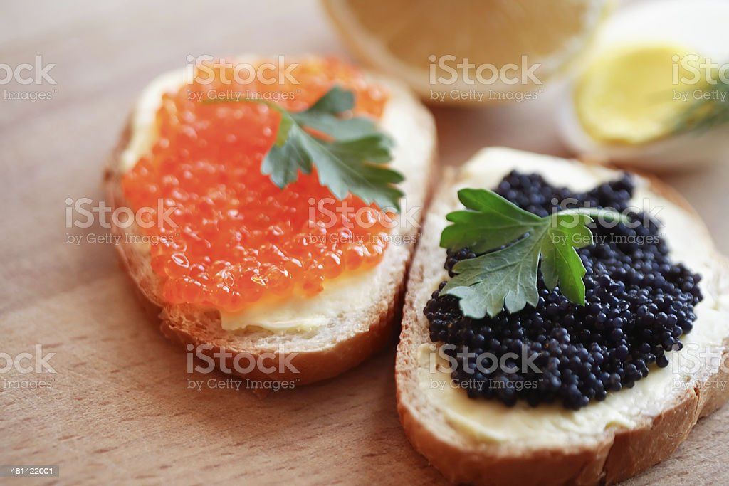 Sandwiches With Caviar stock photo