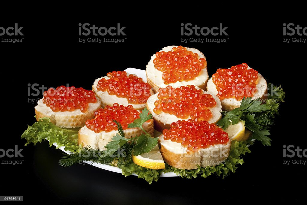 Sandwiches with caviar royalty-free stock photo