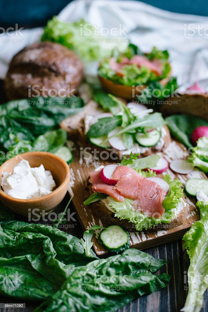 Sandwiches with fish and vegetables stock photo