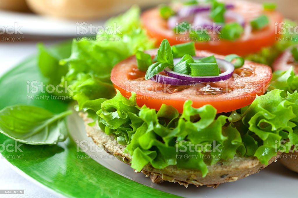 Sandwiches with fresh vegetables stock photo