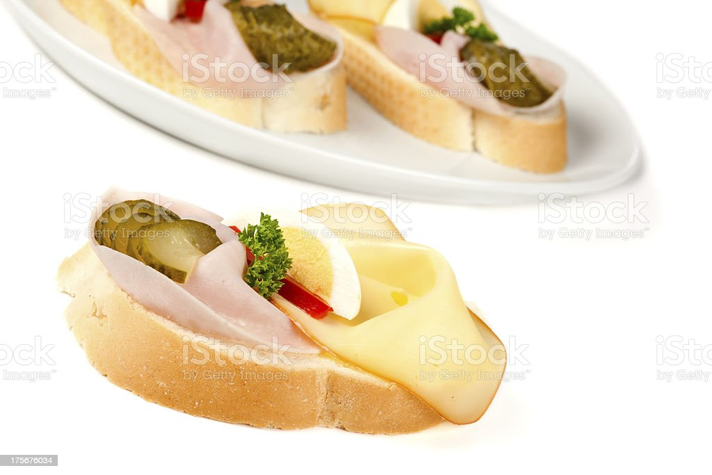 Sandwiches with ham and cheese royalty-free stock photo