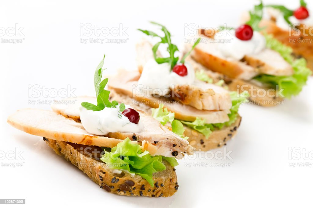 Sandwiches with meat and vegetable royalty-free stock photo