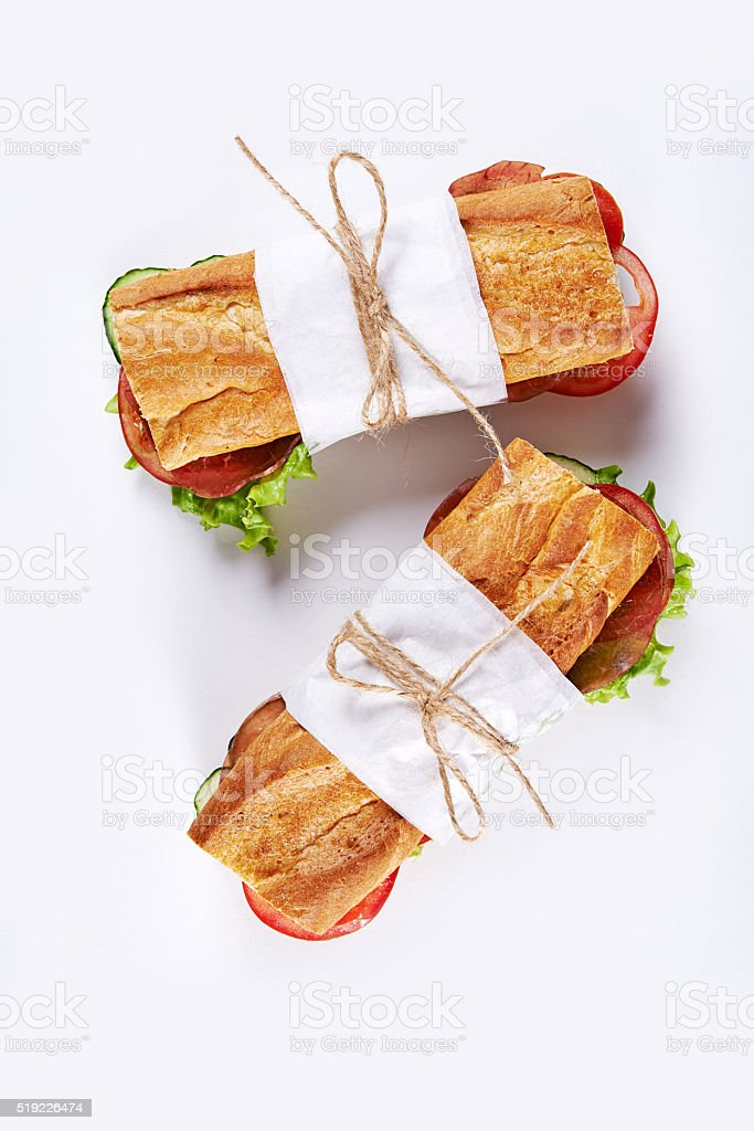 sandwiches with meat and vegetables stock photo