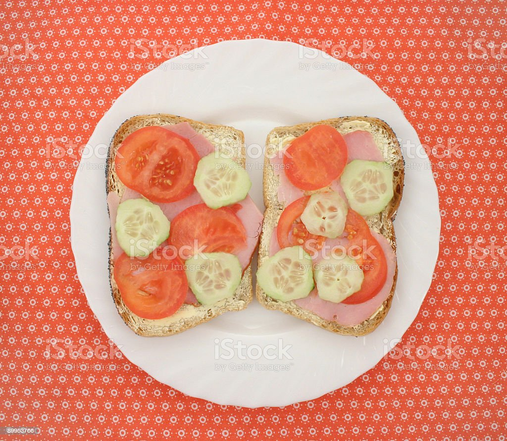 Sandwiches with meat and vegetables royalty-free stock photo