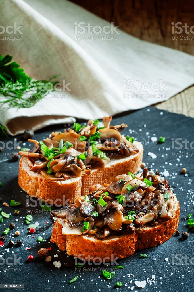 Sandwiches with mushrooms and green onion stock photo
