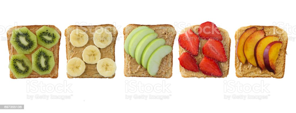 Sandwiches with peanut butter and fruits isolated on white background. stock photo