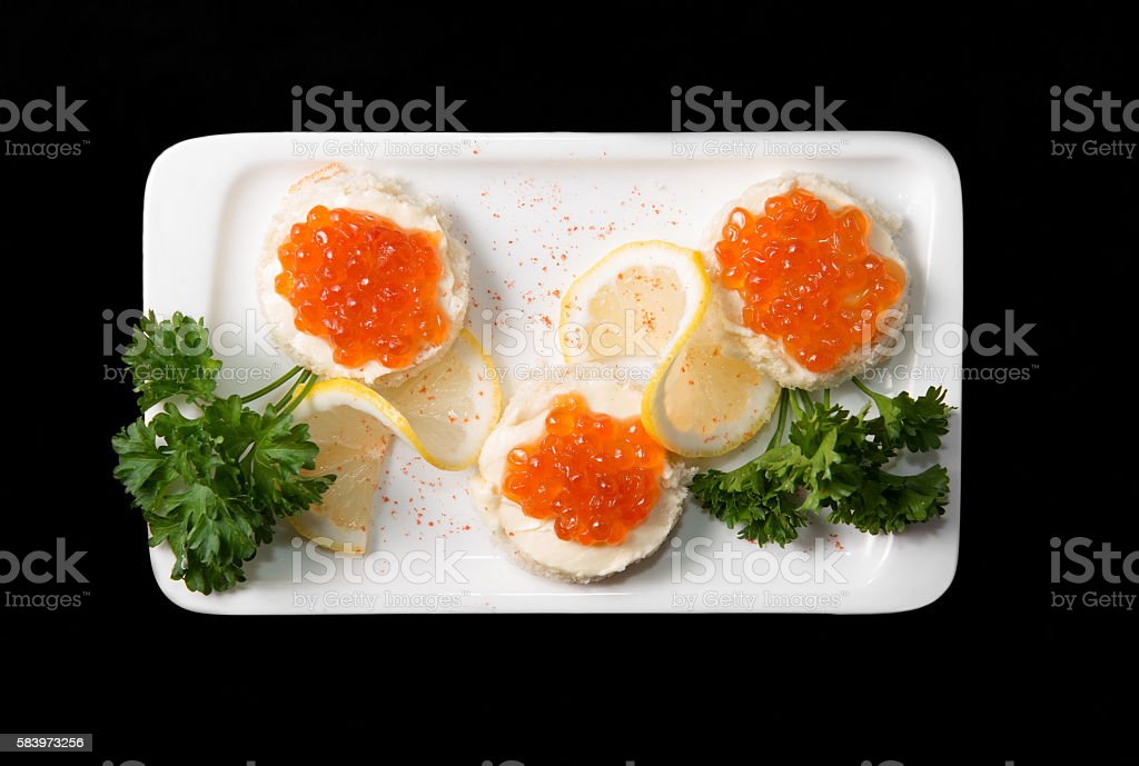 Sandwiches with red caviar stock photo