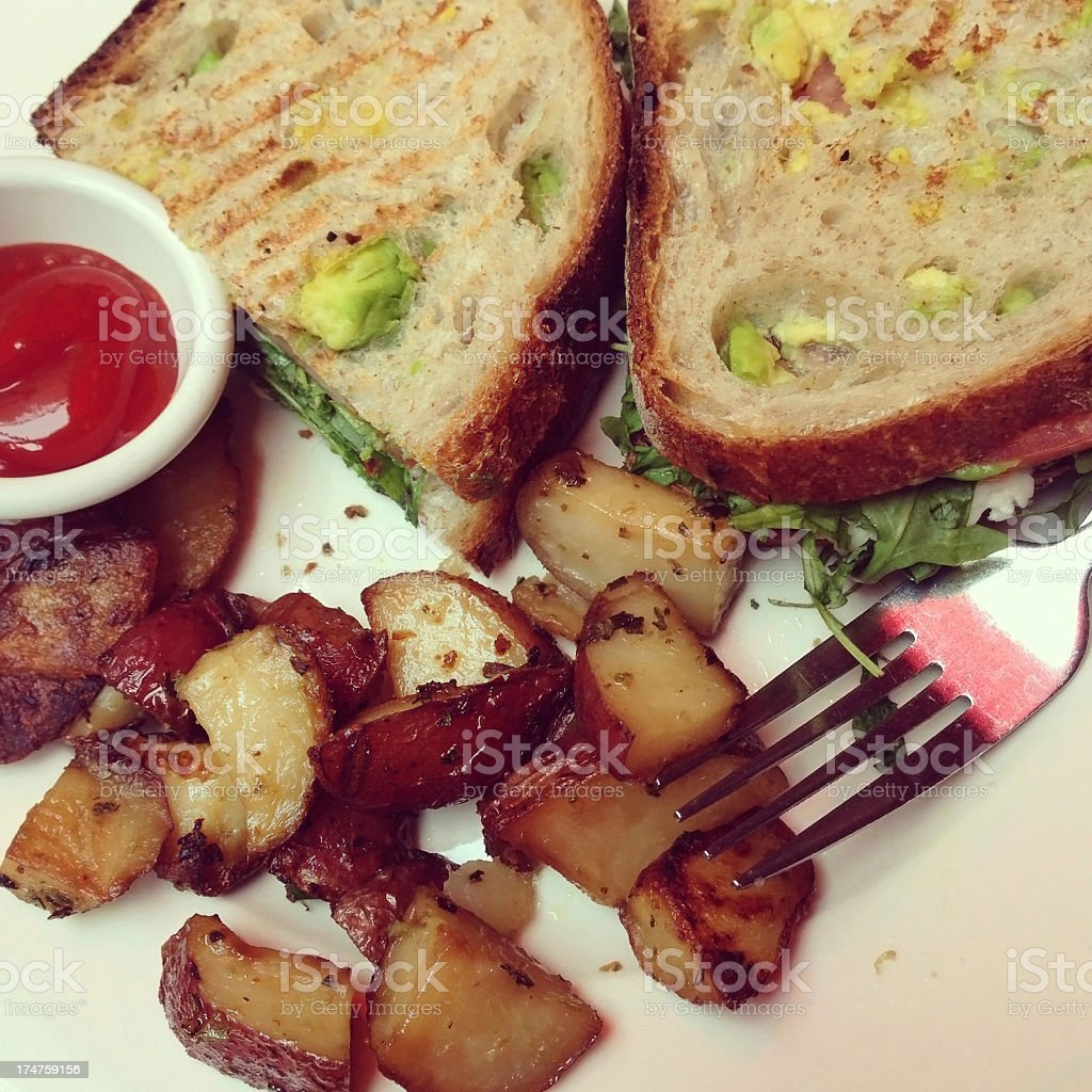 Sandwiches with red potatoes royalty-free stock photo