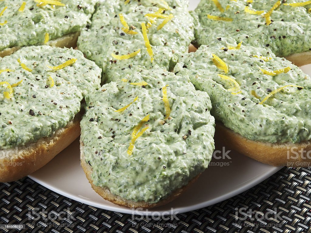 Sandwiches with ricotta and spinach royalty-free stock photo