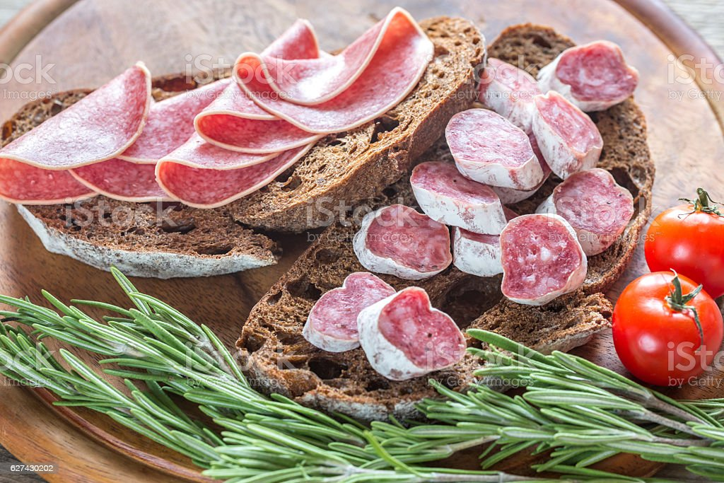 Sandwiches with salami stock photo