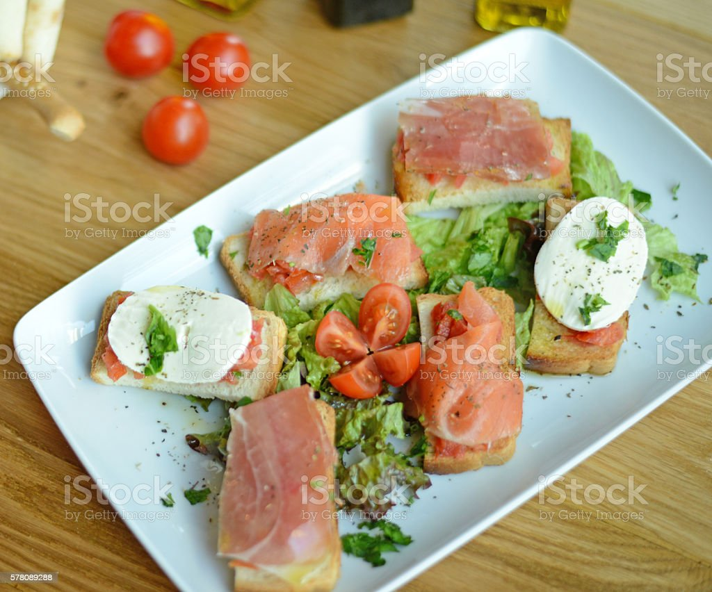 Sandwiches with salomon stock photo