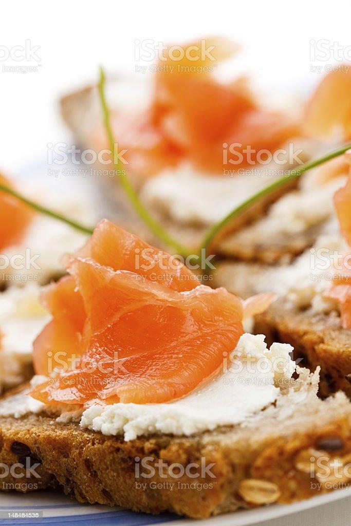 Sandwiches with smoked salmon royalty-free stock photo