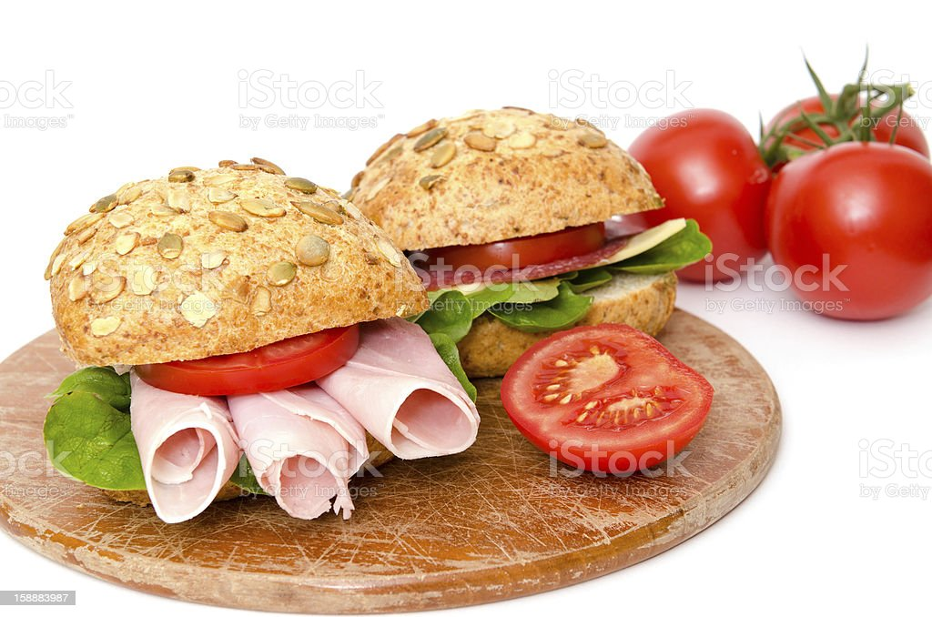 Sandwiches with tomatoes stock photo