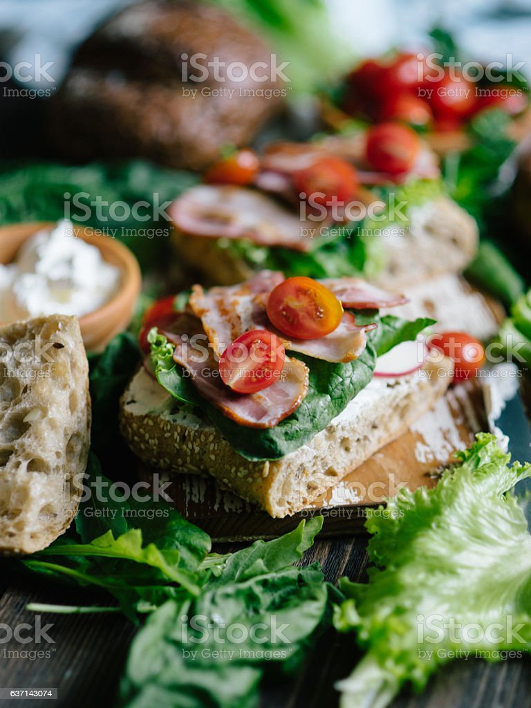 Sandwiches with vegetables and bacon stock photo