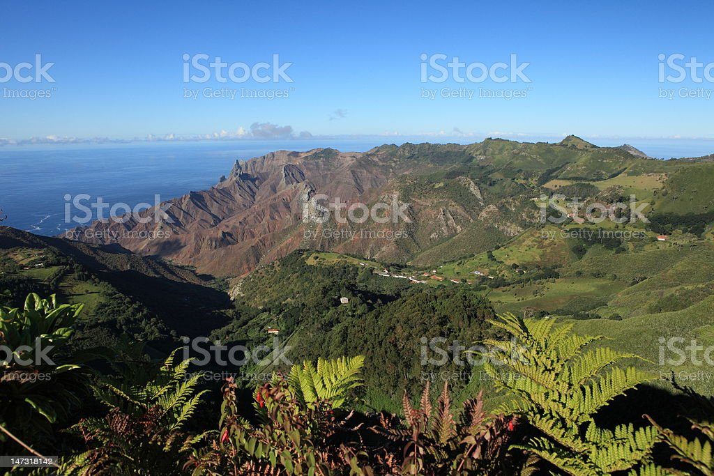 Sandy Bay district St Helena Island viewed from central peaks stock photo