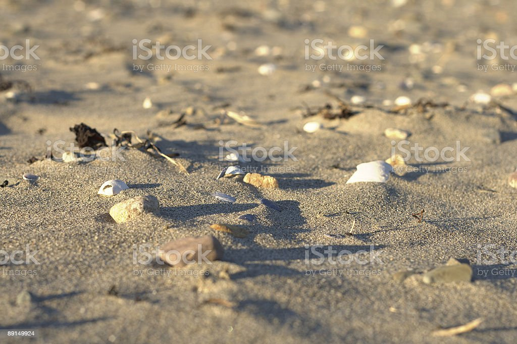 Sandy beach, afternoon shadows stock photo